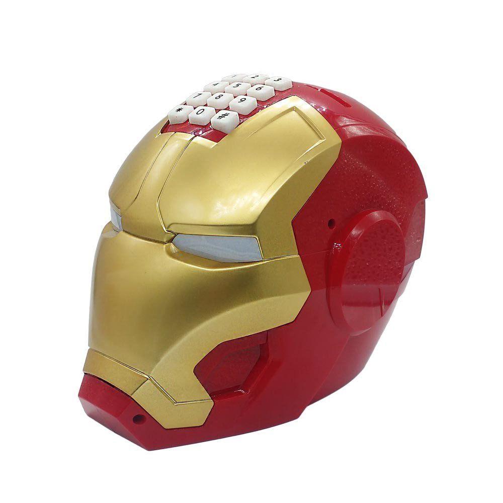 cofre infantil com senha cabeça de super herói luzes e som
