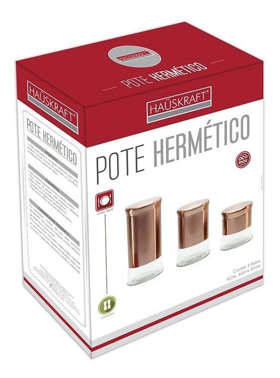 Conjunto 3 Pote hermetico Vidro Inox 400 600 850ml Hauskraft