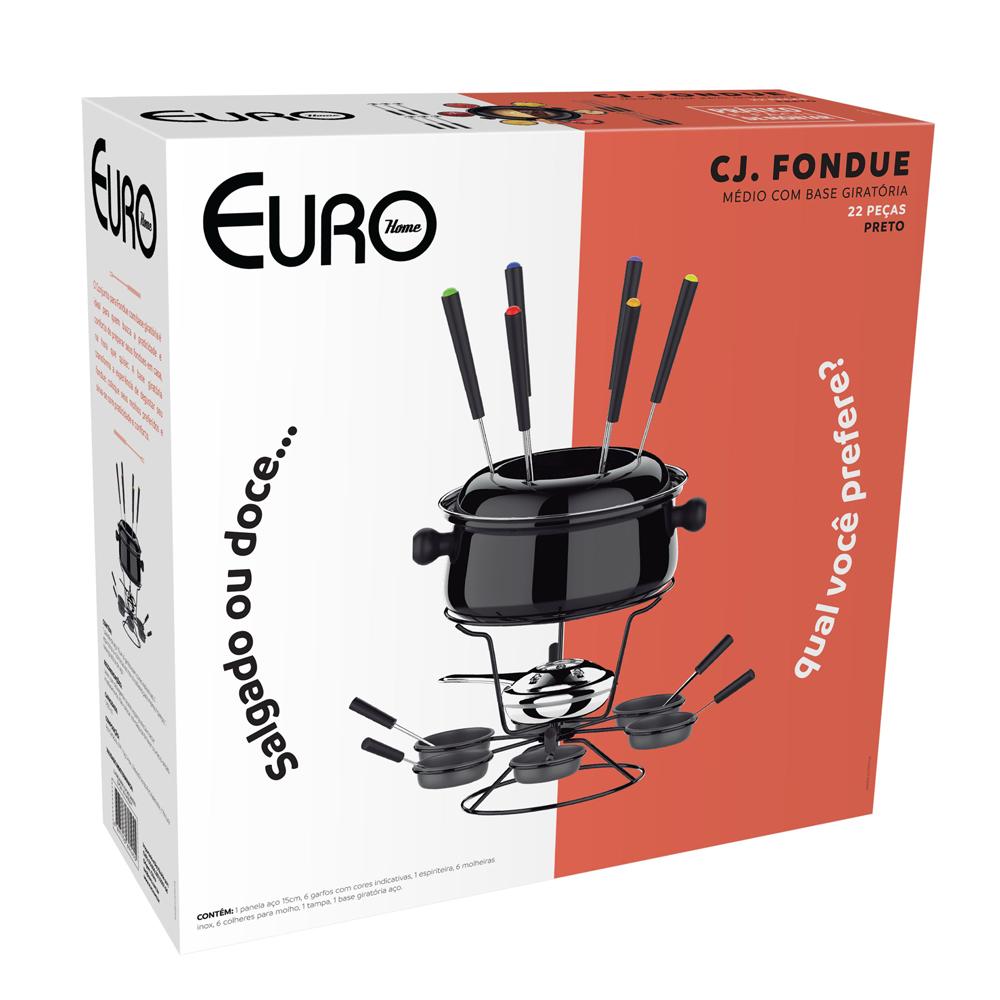 Conjunto Fondue Euro Home Base Giratória 22 Peças 1.400ml