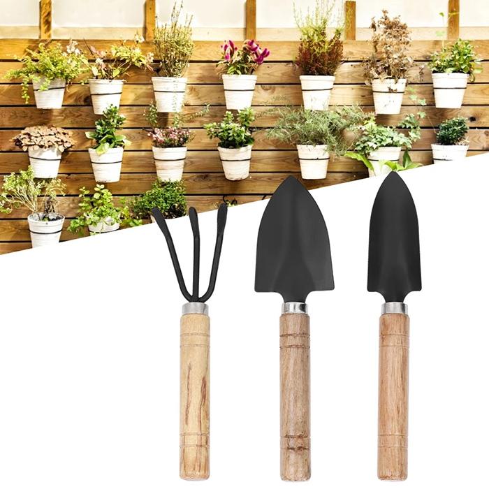 Conjunto Jardinagem 2 Pás e Ancinho Cabo Madeira Vasos