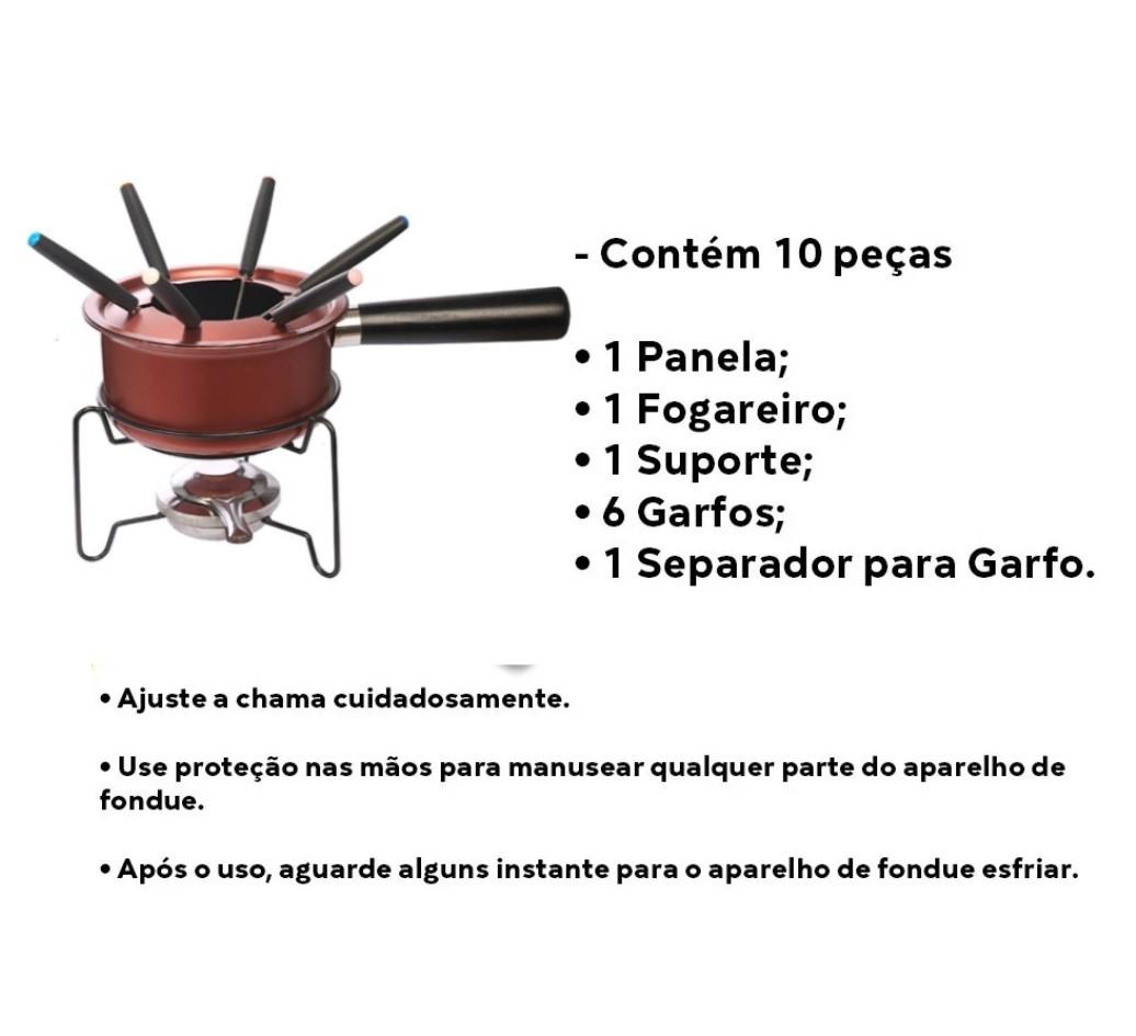 Conjunto Para Fondue Antiaderente 10 Peças Hauskraft