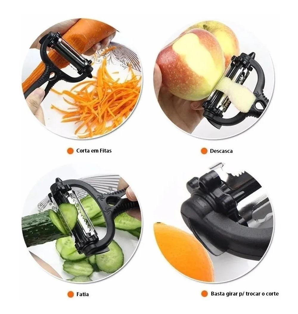 Descascador Fitas E Fatiador Legumes Frutas Espiral 3 Em 1