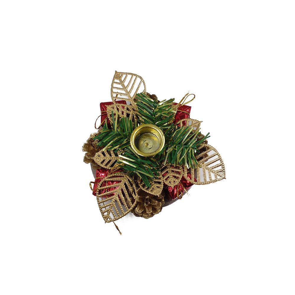 enfeite para base de castiçal pinhas 12x12 decoração d natal