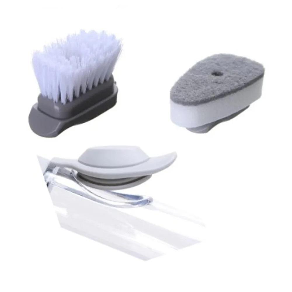 Escova De Limpeza 2 Em 1 Dispenser De Sabão Lavar Louça