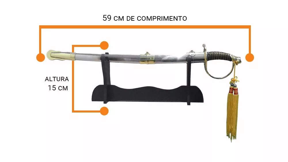 Espada Decorativa Rica Em Detalhes Com Pedestal Com 59cm