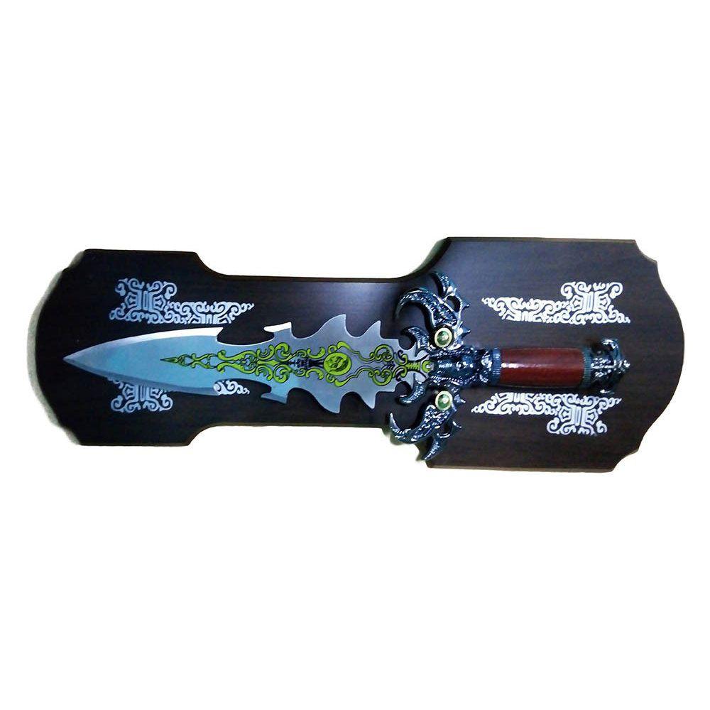 espada decorativo com suporte rica em detalhada em aço 45cm