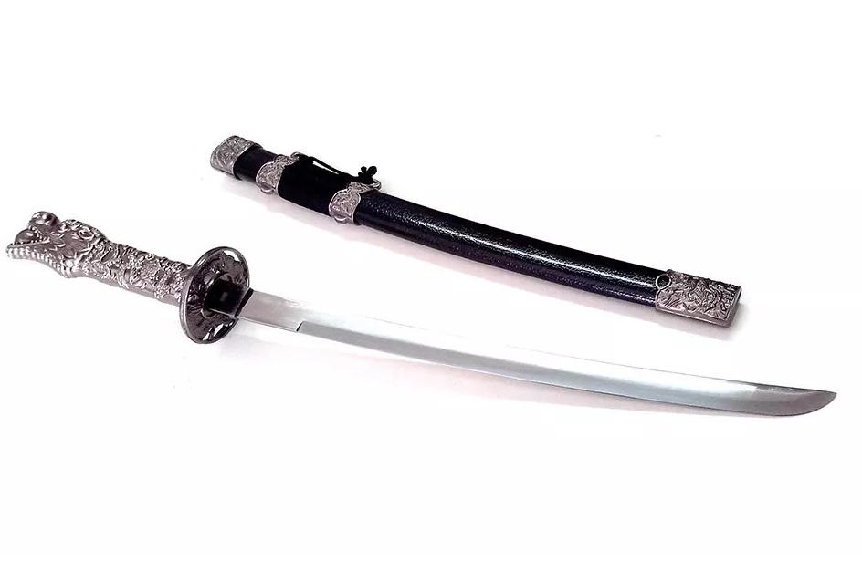 Espada Katana Decorativa Dragão Com Pedestal Em Inox 23 Cm