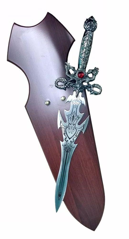 Espada Medieval Decorativa Com Suporte De Madeira Com 58cm