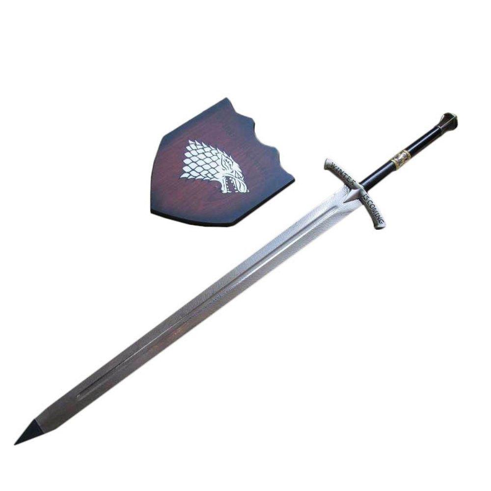 espada medieval decorativa got com suporte de parede 114cm
