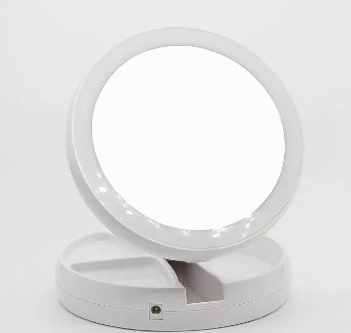 Espelho D Luz Led Dobravel Aumenta 10x Make Portátil 2 Lados