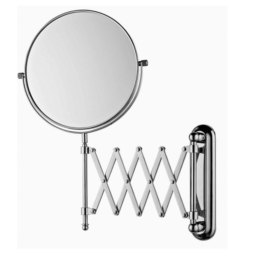 espelho de aumento dupla face articulado de parede aço inox