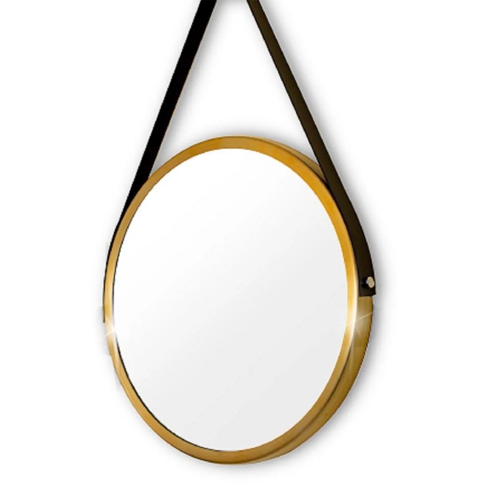 Espelho Decorativo Redondo 30cm Adnet Suspenso C/ Alça Couro