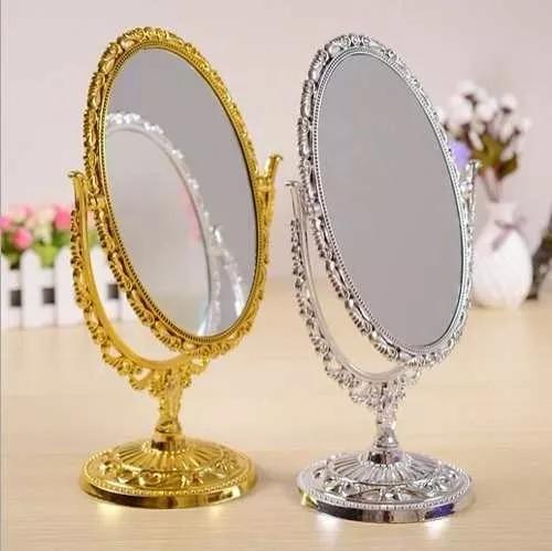 Espelho Dupla Face De Mesa Oval Para Maquiagem Com Aumento