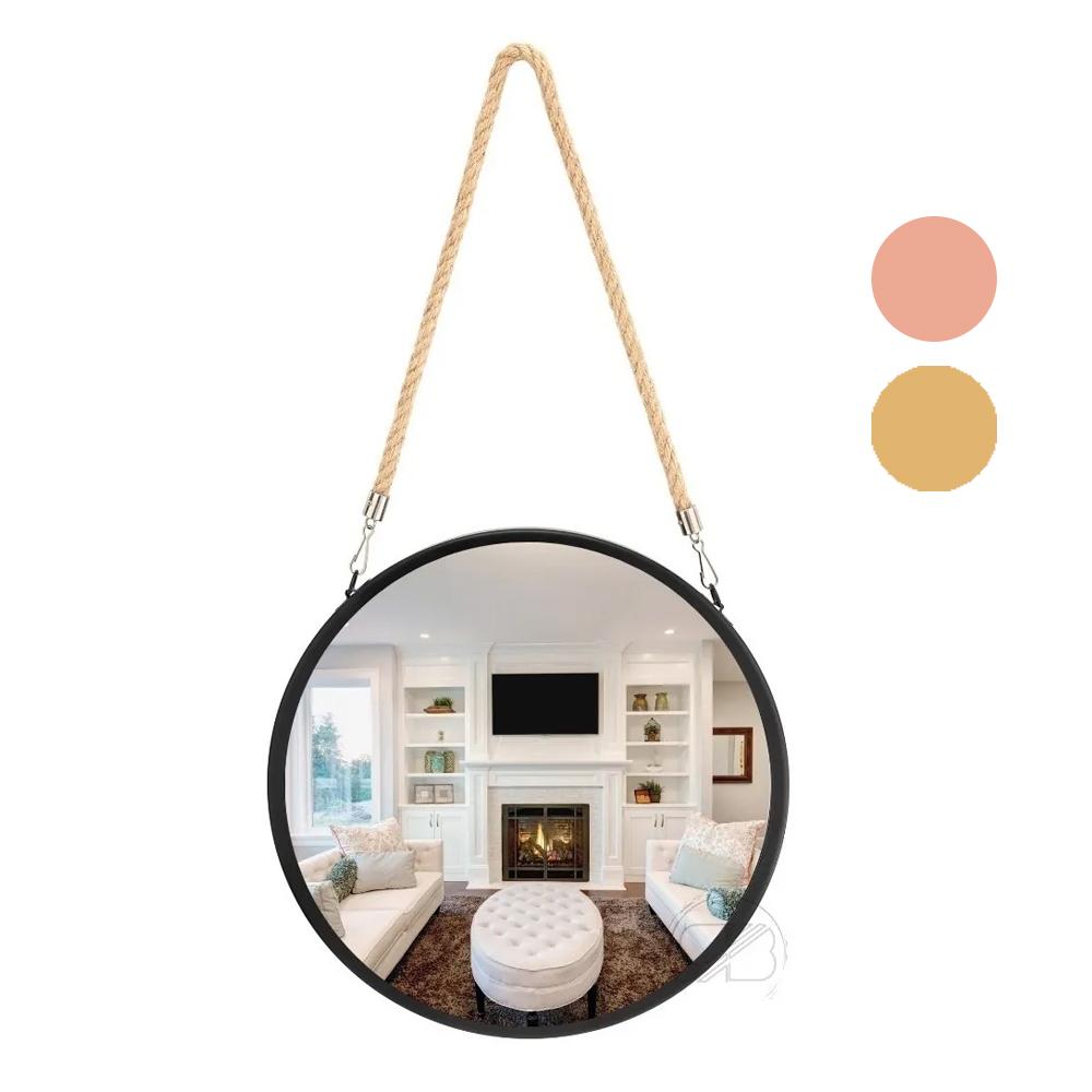 Espelho Redondo Decorativo Suspenso 30cm Alça Corda Sisal