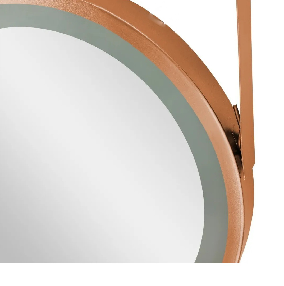 Espelho Redondo touch Led Iluminado Com Alça De Metal 30cm