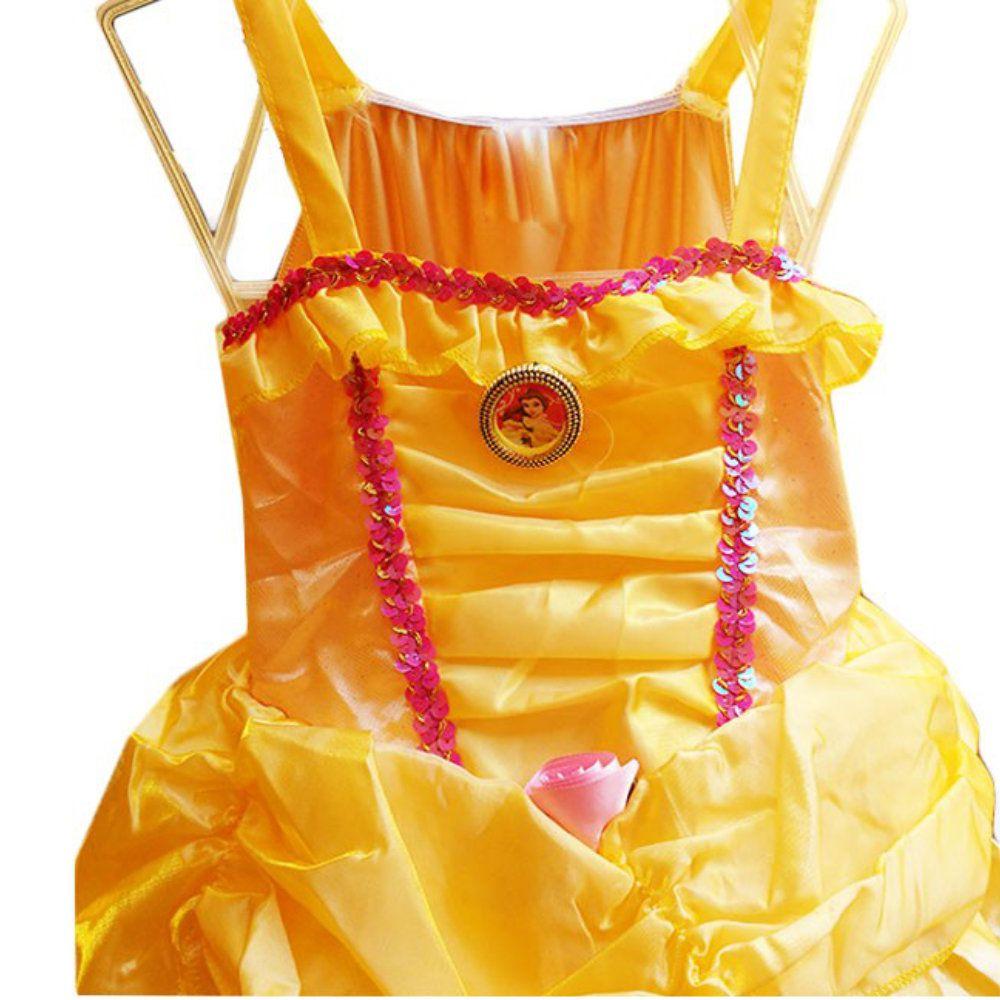 fantasia infantil bela e a fera vestido princesa 4 a 8 anos