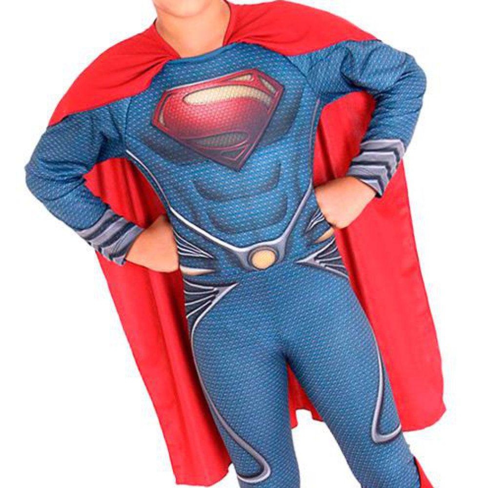 fantasia super homem infantil com músculos de 4 a 8 anos