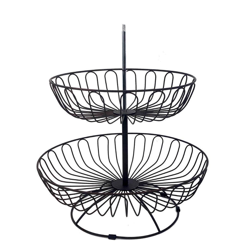 fruteira de mesa com 3 andares redonda de metal retro
