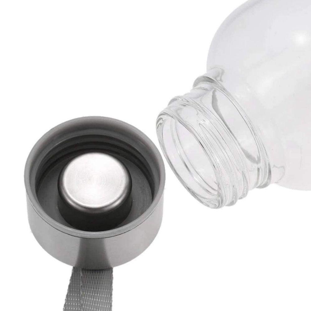 Garrafa Squeeze De Vidro Tampa Inox Com Capa Aguá Chá 520ml