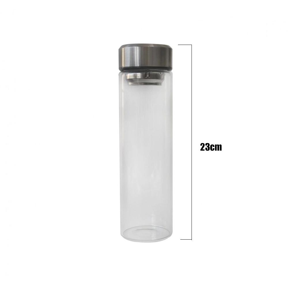 Garrafa Squeeze Vidro Infusor Inox Com Capa e Alça 600ml