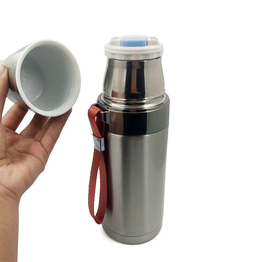 garrafa térmica inox 500ml com alça e abertura on/off