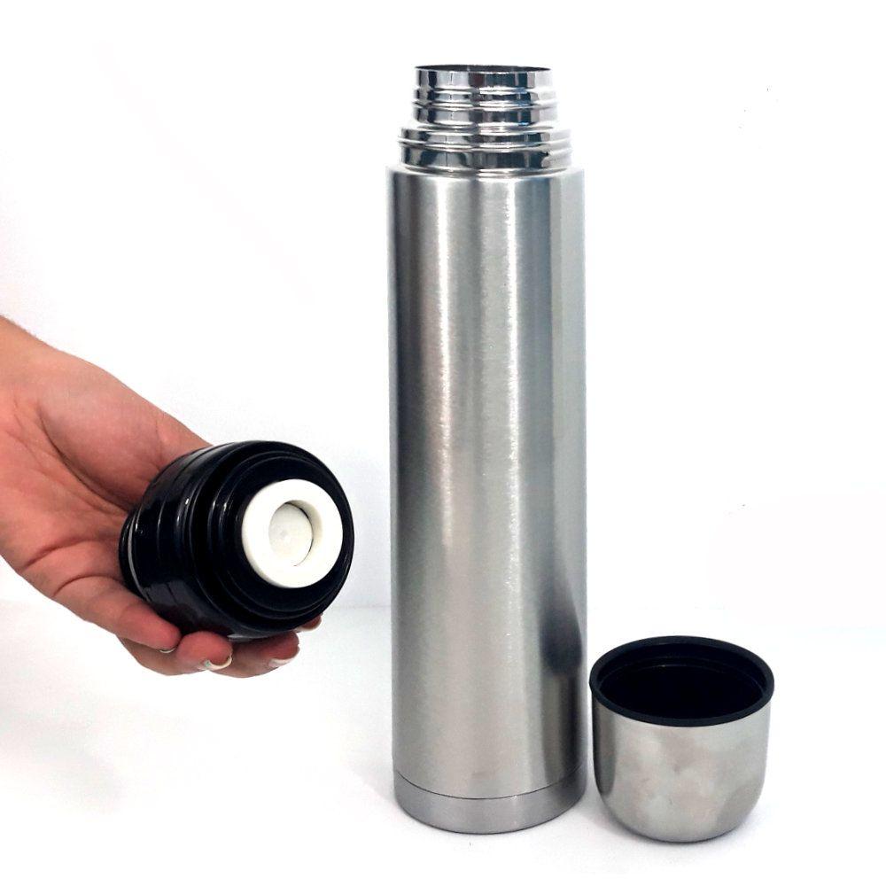 garrafa térmica inox para café e chá com trava para 1 litro