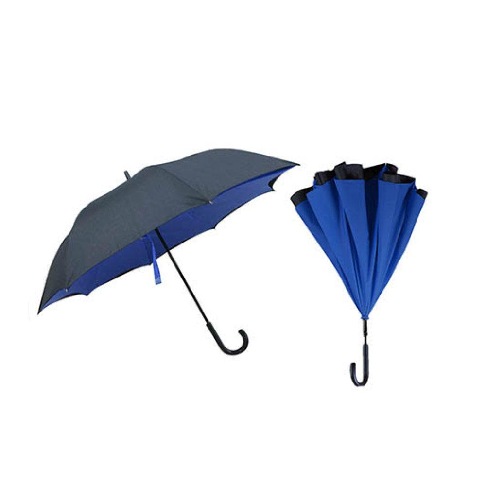guarda chuva invertido com dupla face diâmetro de 117cm azul