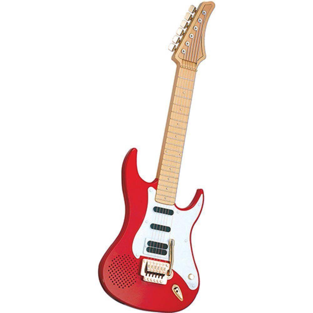guitarra de brinquedo dtc eletrônica com som alça vermelha