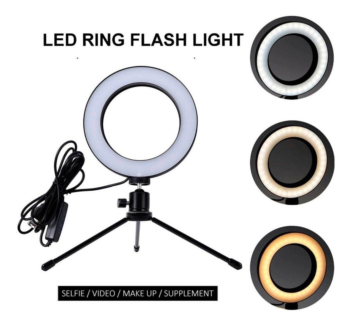 Iluminador De Led Com Tripe Ring Light Usb 16cm 5500k