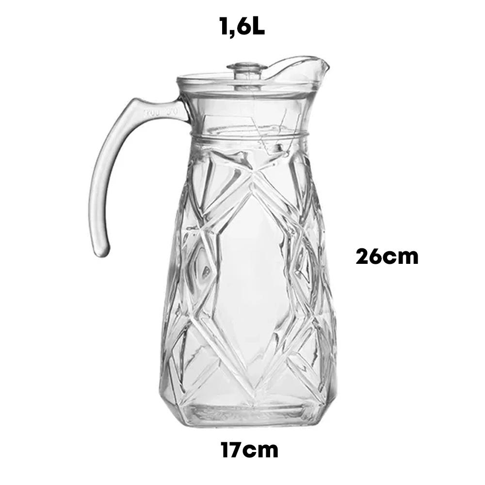 Jarra 1,6L Com 4 Copos 240ml De Vidro Suco Agua Bebida