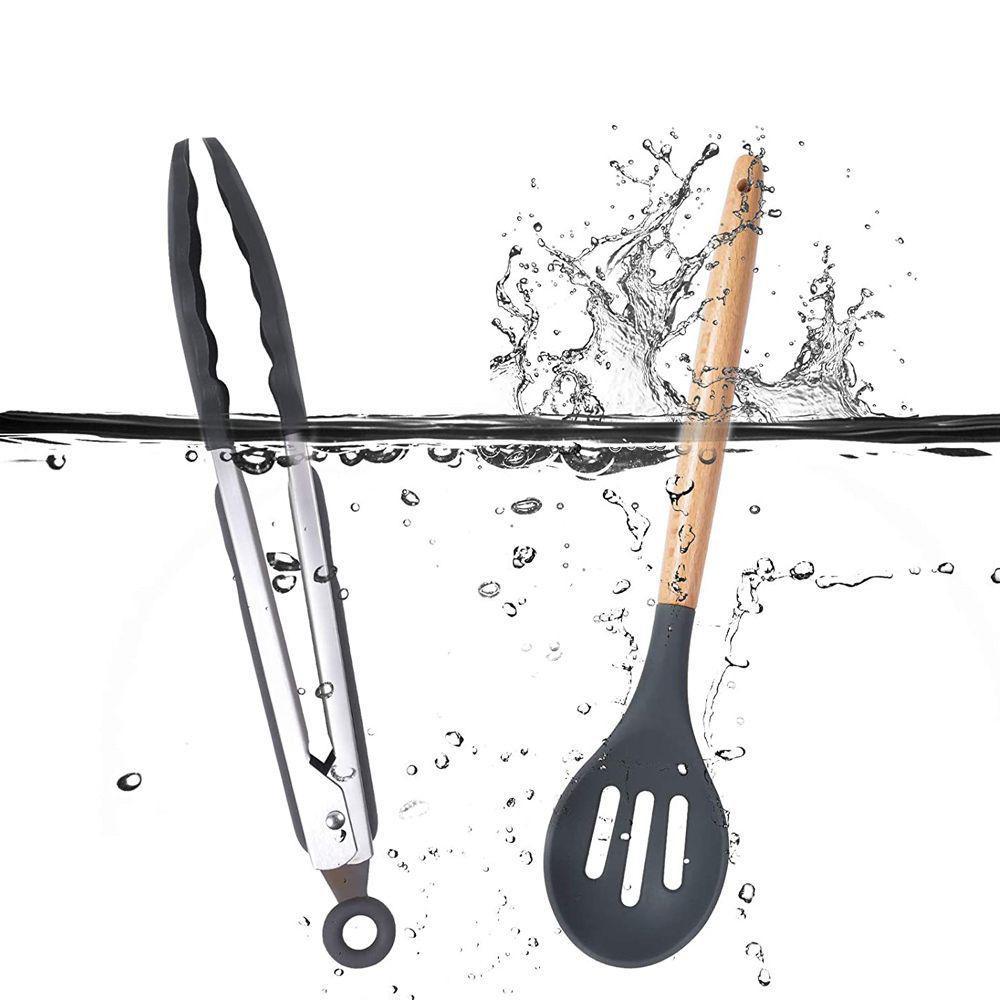 Jogo de Utensílios Cozinha de Silicone 12 Peças Cabo Madeira
