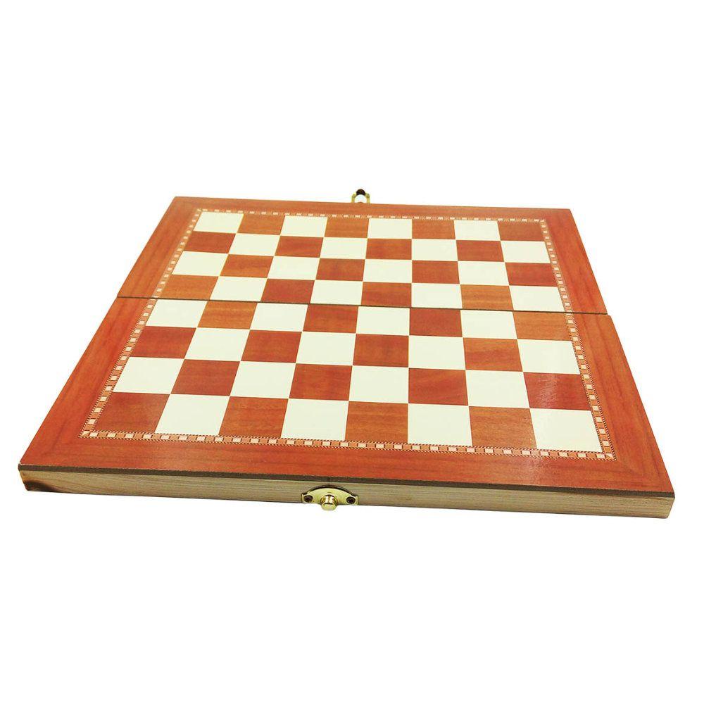 jogo de xadrez damas e gamão tabuleiro completo 3 em 1 29x29