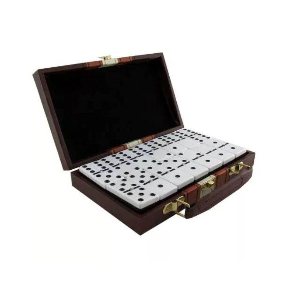 jogo domino maleta de couro sintético profissional 28 peças