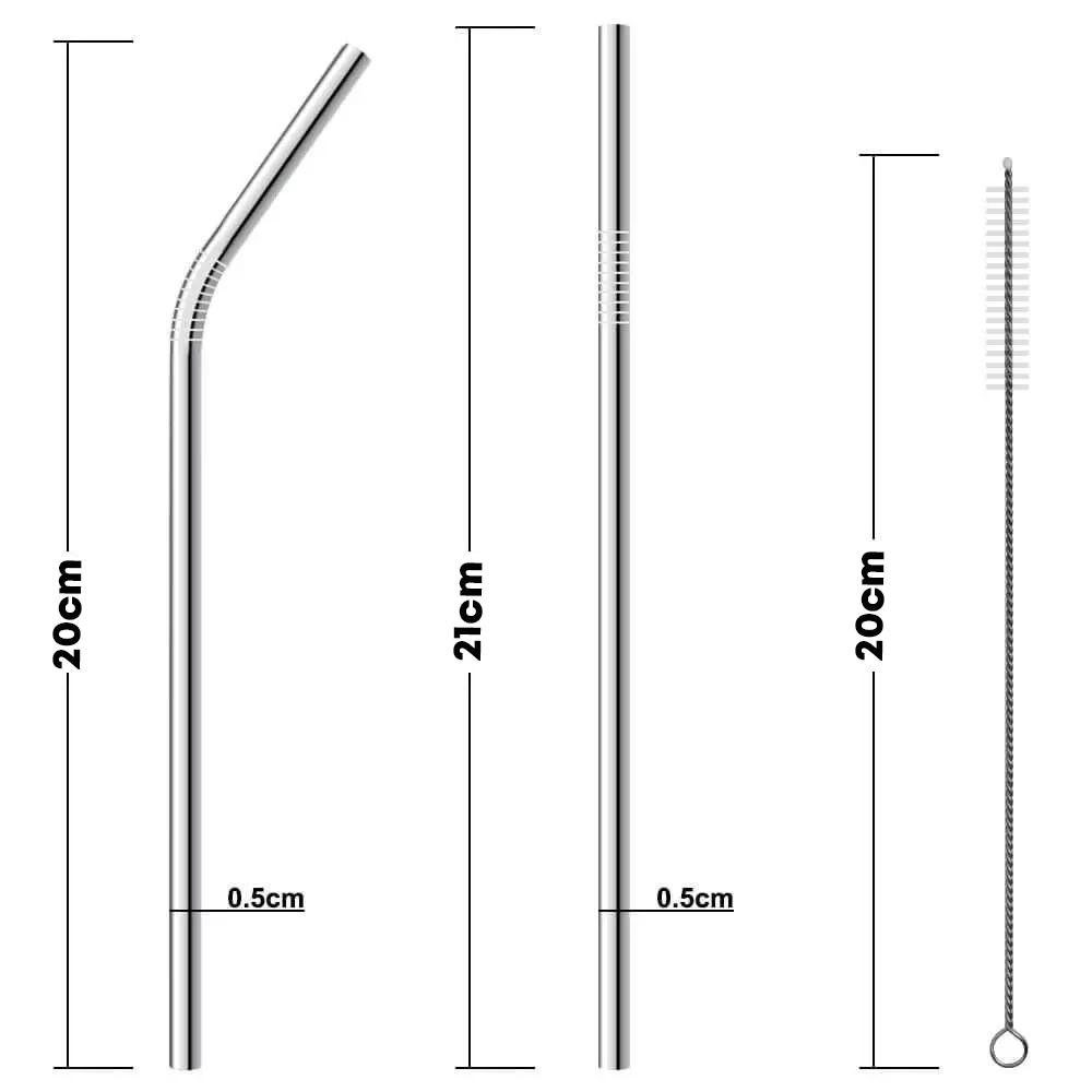 Kit 10 Canudos Aço Inox Metal Reutilizável + Escova Limpeza