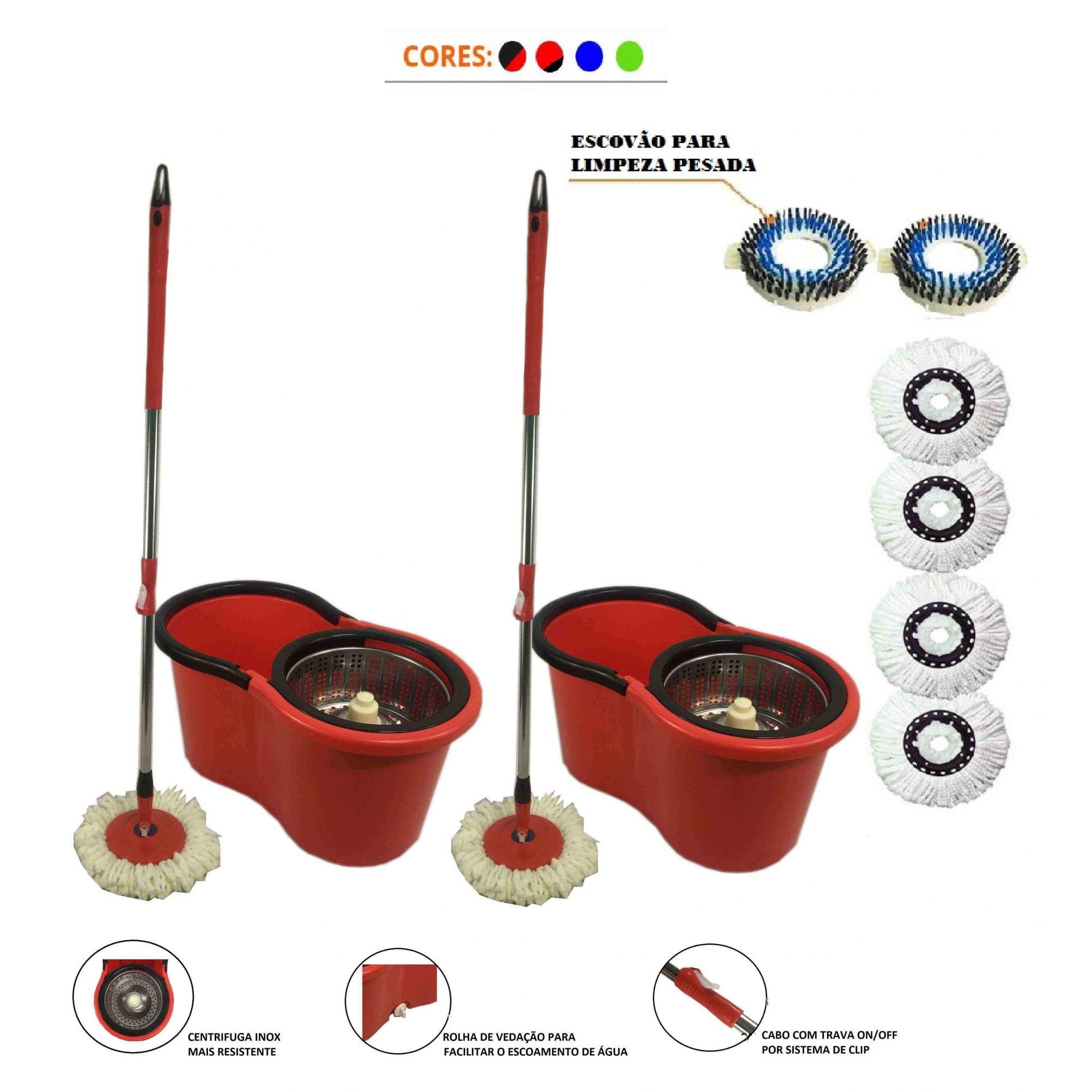 Kit 2 Balde Mop Com Centrifuga Inox 4 Refis + 2 Escovao