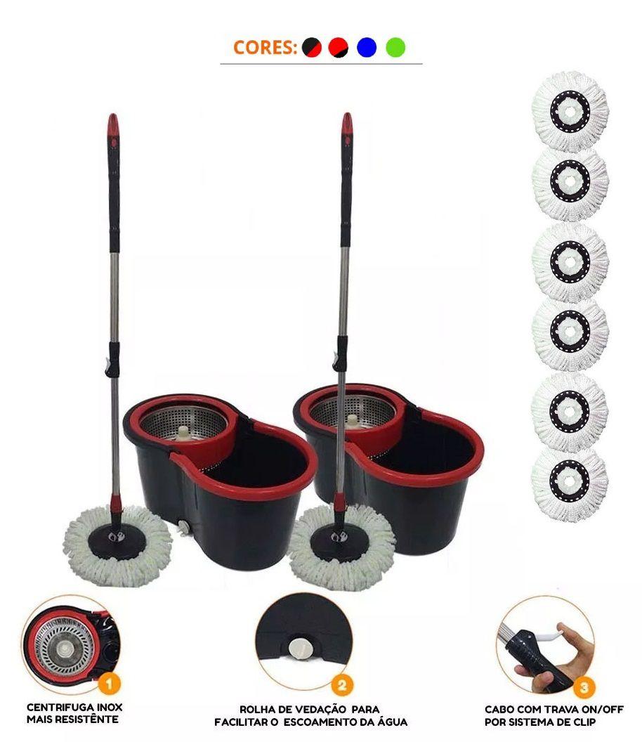 Kit 2 Balde Spin Mop Centrifuga Inox 6 Refis Microfibra
