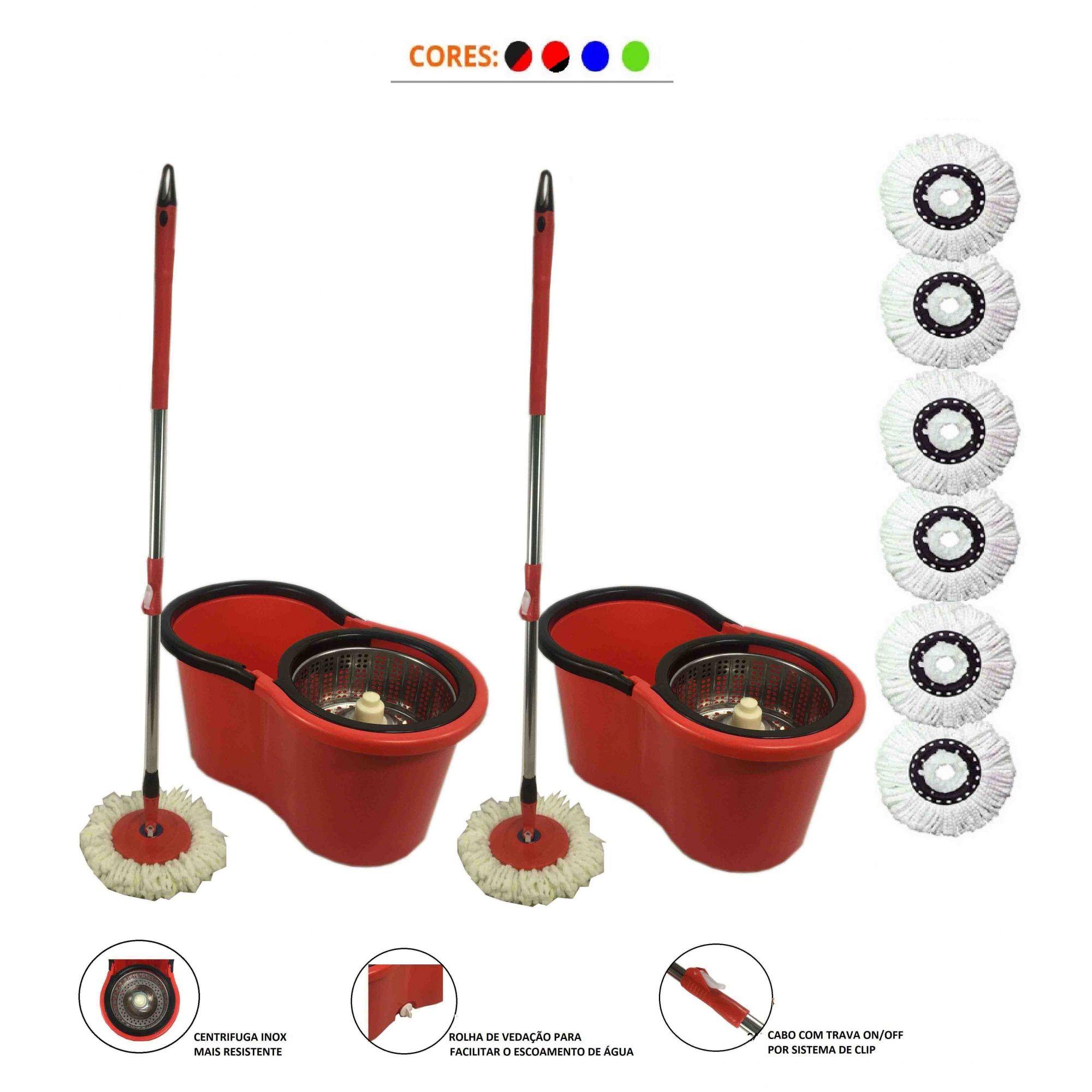 kit 2 balde spin mop centrifuga inox esfregão 1.30 + 6 refis