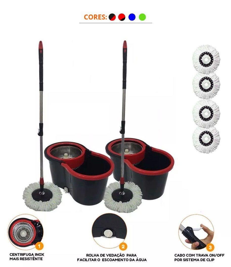 Kit 2 Baldes Spin Mop C/ 4 Refis Centrifuga Inox