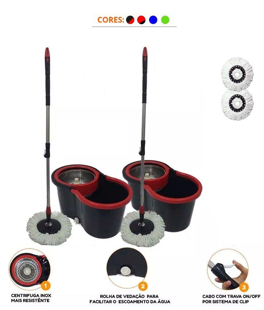 kit 2 Baldes Spin Mop Centrifuga Inox Esfregão 1.30 + 2 refis