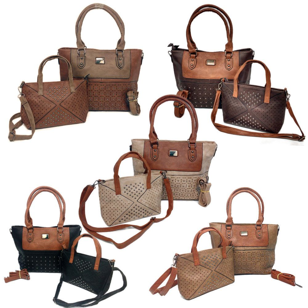 kit 2 bolsas de couro sintético femininas
