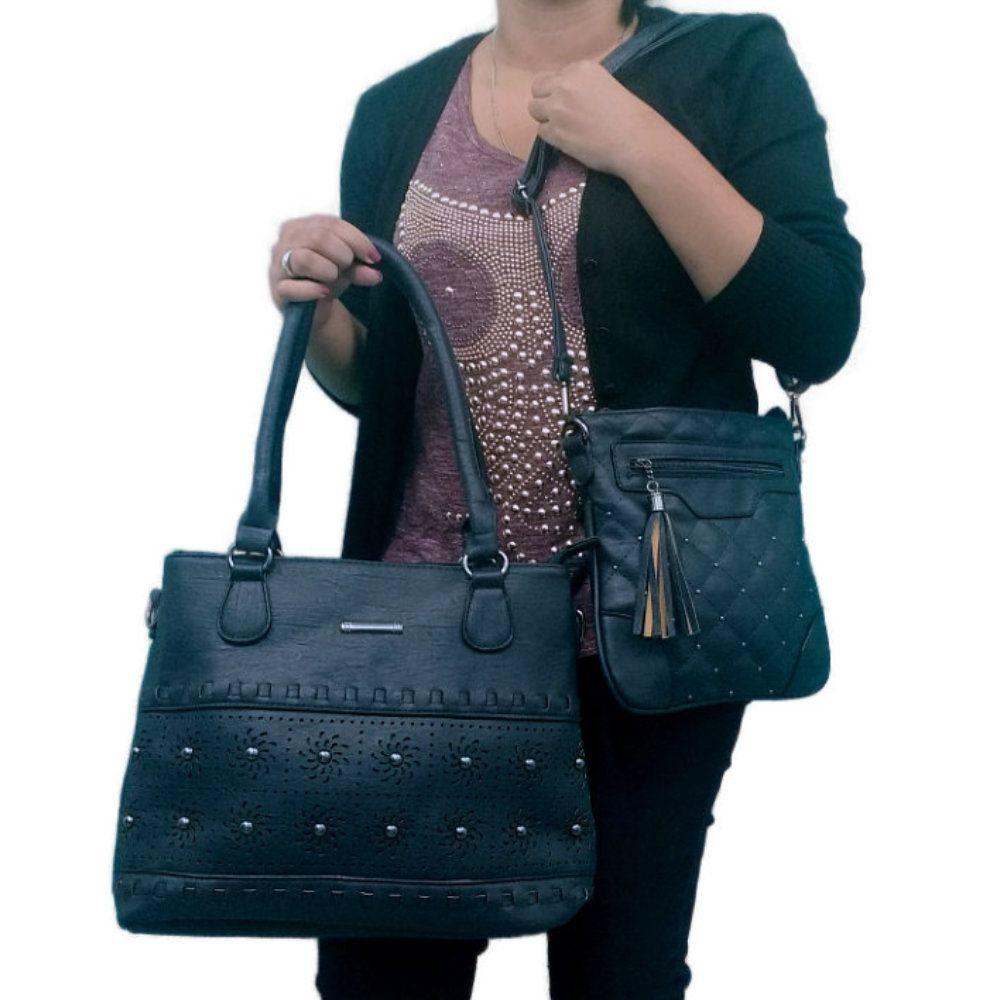 kit 2 bolsas feminina de couro sintético com alças removível