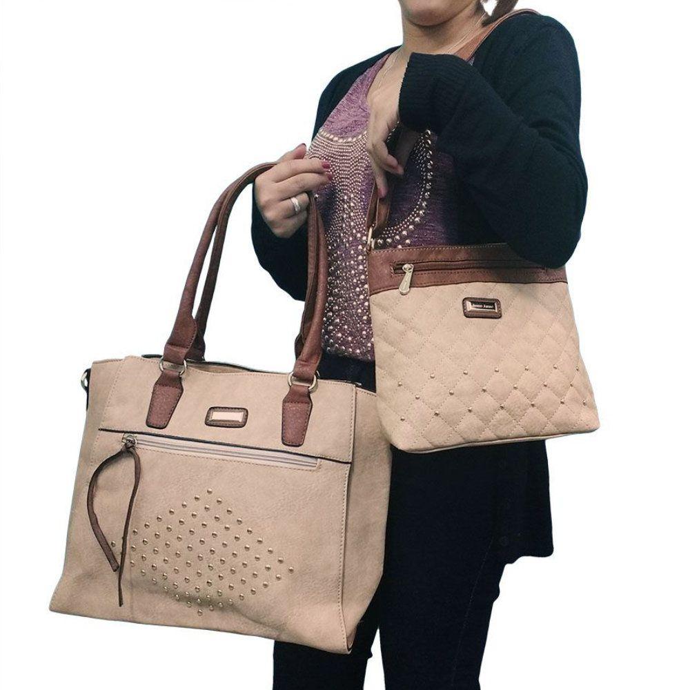 kit 2 bolsas femininas couro sintético com alça transversal