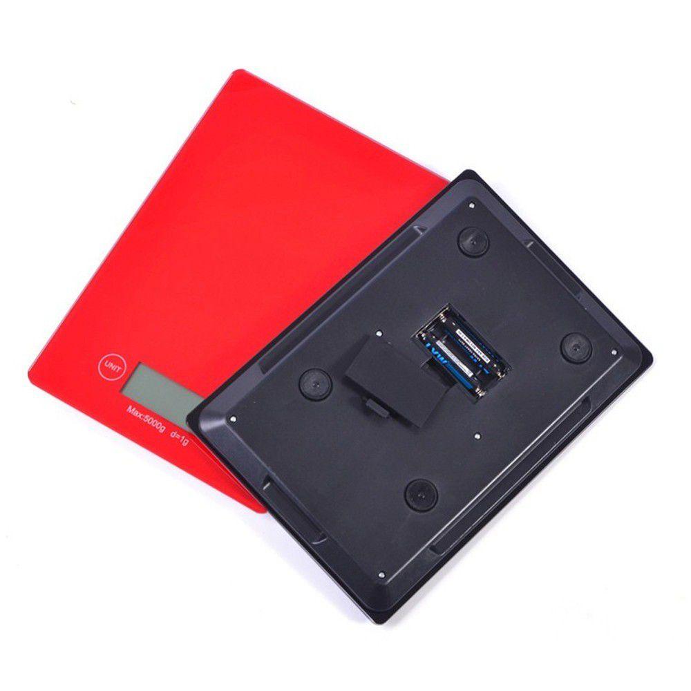 kit 3 balanças digitais 5kg em vidro para cozinha - vermelho