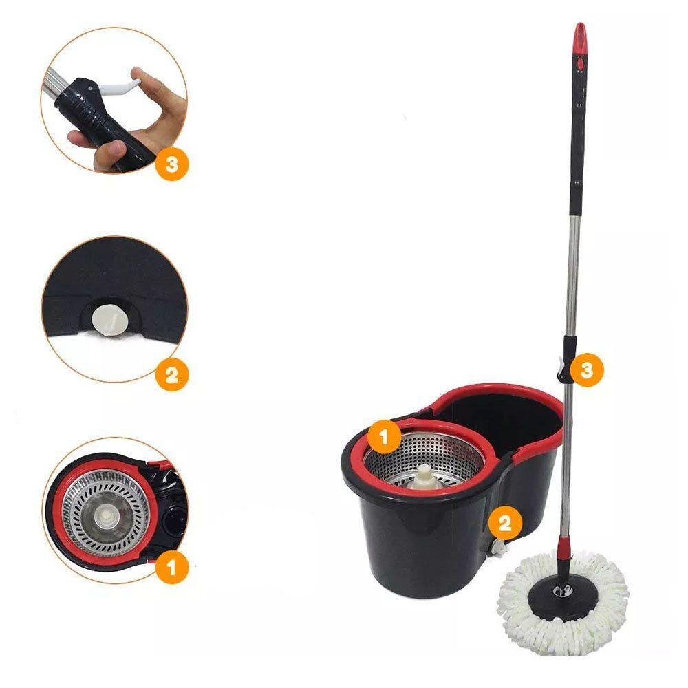 kit 3 baldes spin vassoura mop saída aguá cesto inox 9 refis