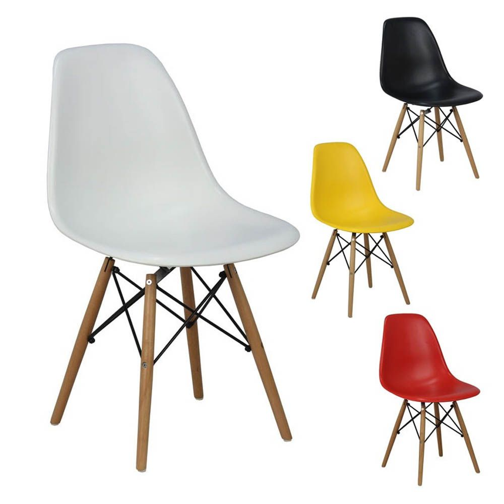 kit 4 cadeiras design charles eames wood base cadeira dsw