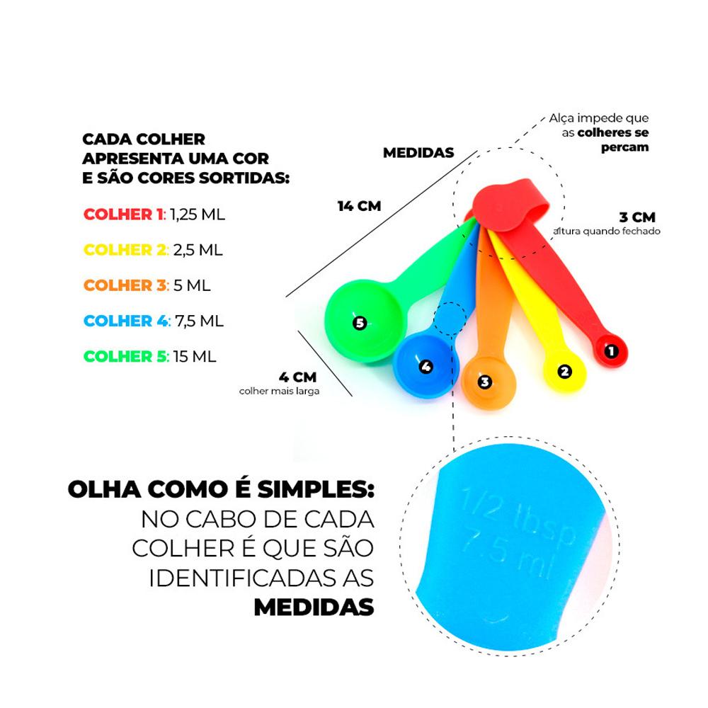 Kit 5 Colher De Medida Colher Dosadora Para Cozinha Colorida