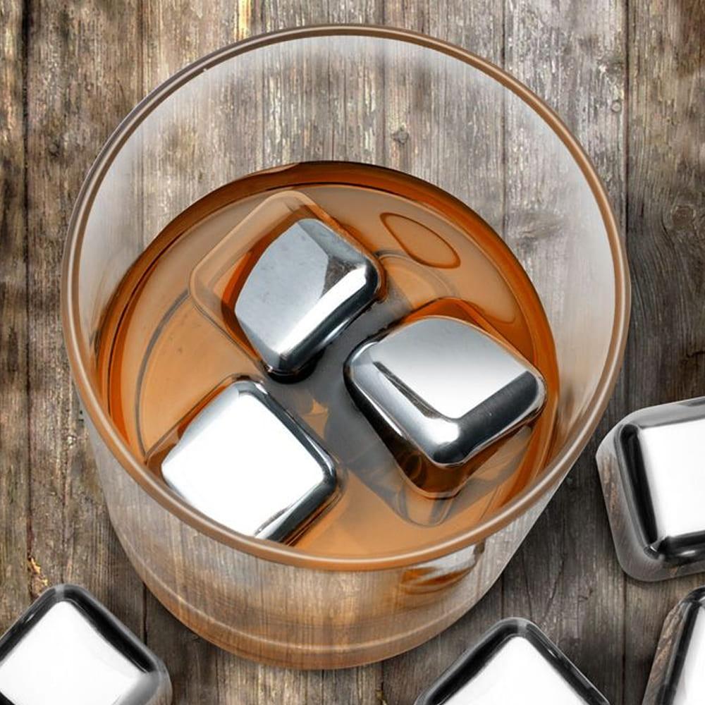 Kit 8 Cubos De Gelo Aço Inox Metal Com Pegador Whisky Drinks