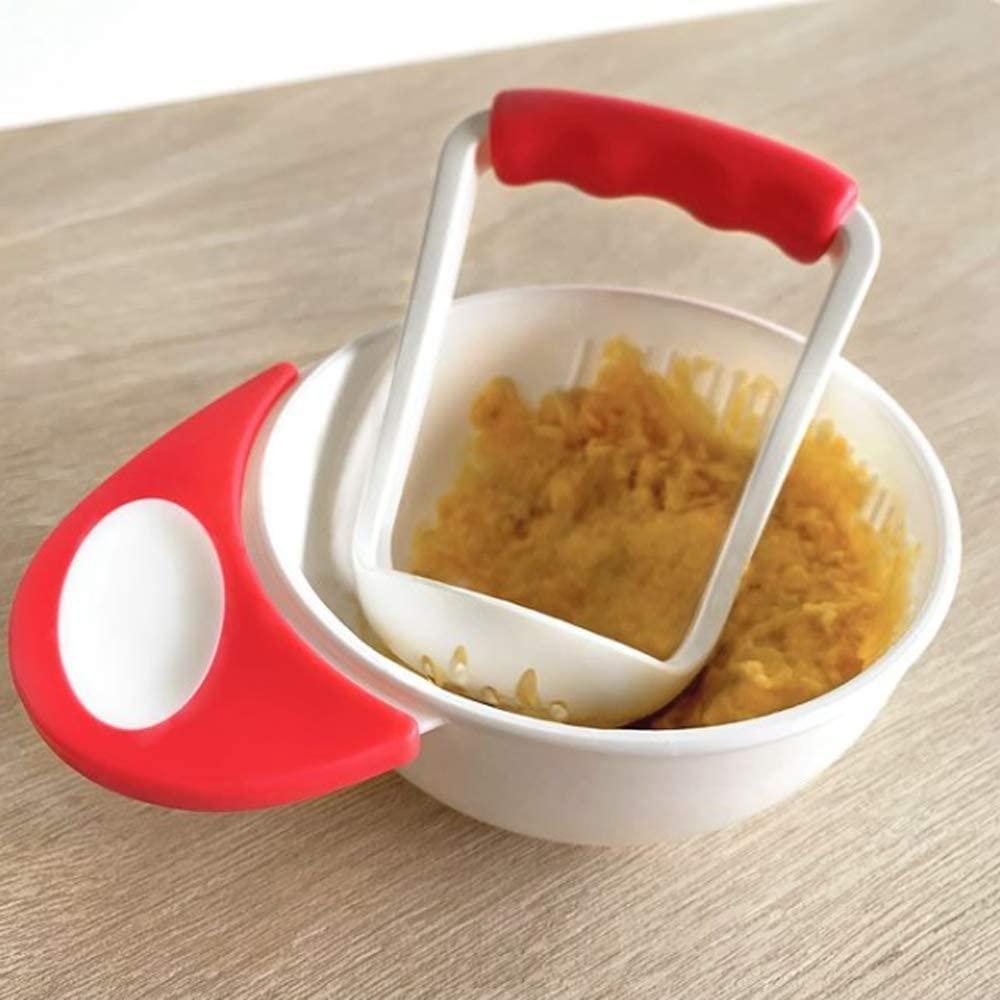 Kit Amassador De Papinha e Pote Alimentação Infantil Bebê