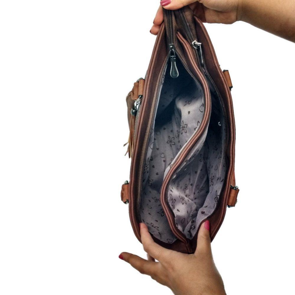 kit bolsa de couro sintético feminina com alça transversal
