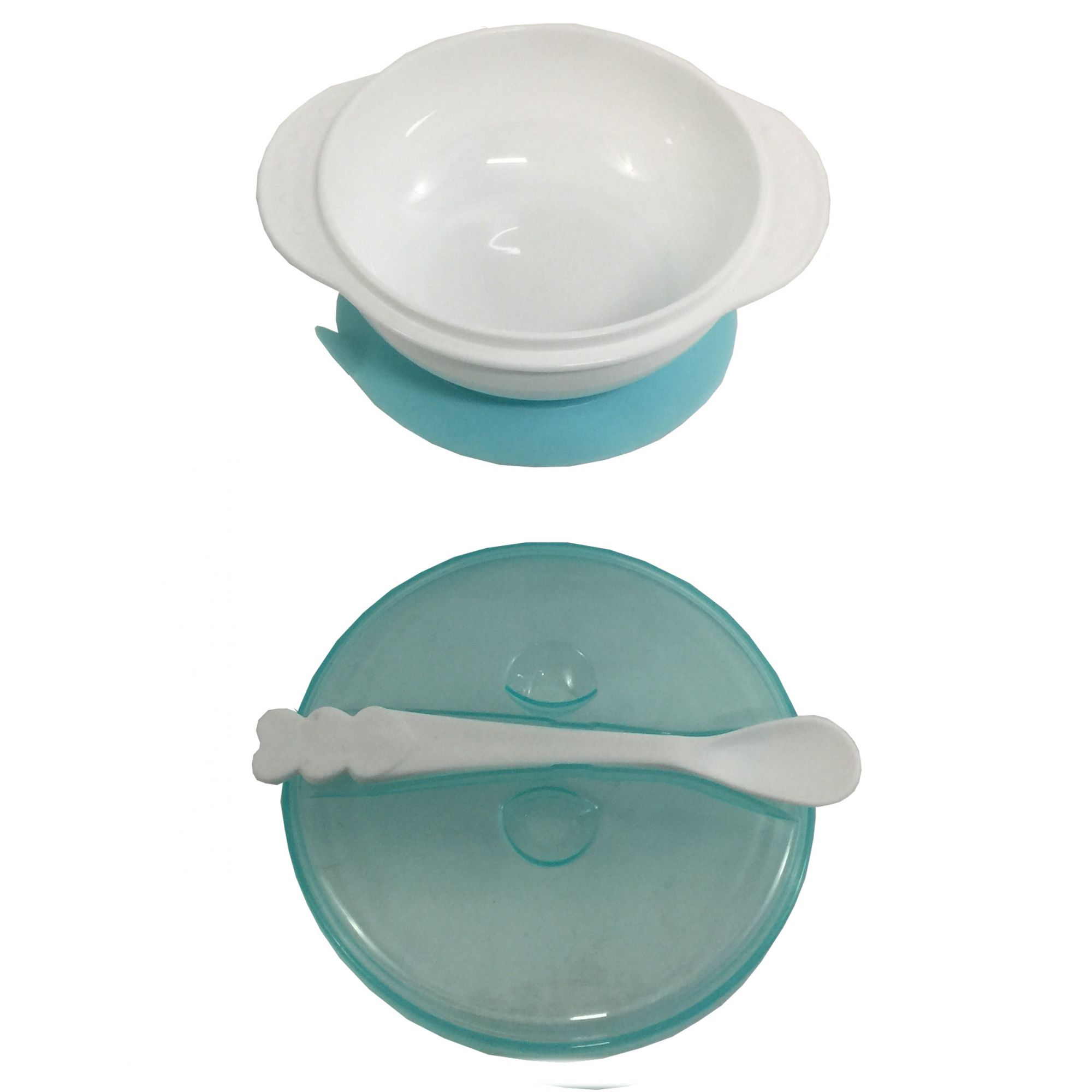 Kit Com 1 Tijela Com Tampa E Ventosa E 1 Colher Para Bebe